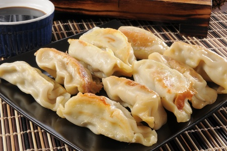 potstickers: Potstickers stuffed with chicken and vegetables Stock Photo