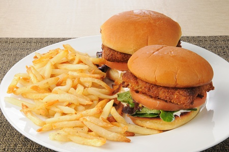 Two fish sandwiches and french fries