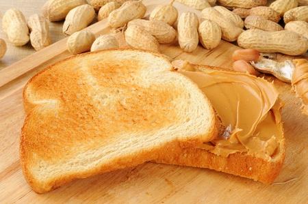 A peanut butter sandwich on toast