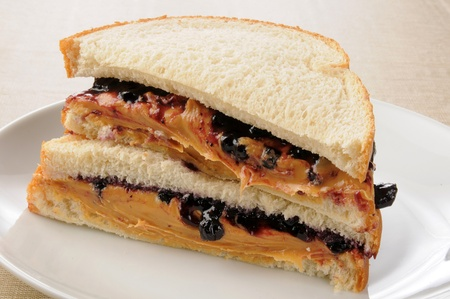 peanut butter and jelly sandwich: A sliced peanut butter and jelly sandwich