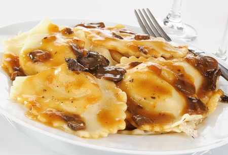 Close up of gourmet chicken and mushroom ravioli photo