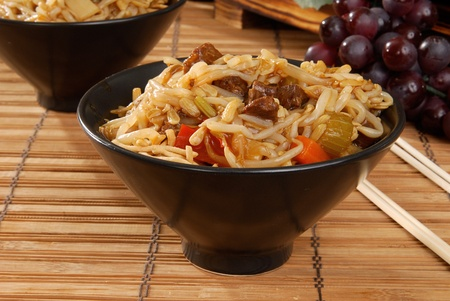 chow: A bowl of been chow mein Stock Photo