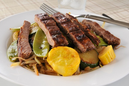 A bowl of healthy stir fry with beef