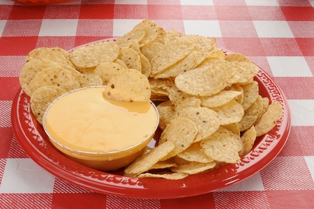 checker plate: Round tortilla chips with cheddar cheese dip
