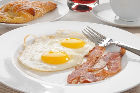 Bacon and eggs with a Danish pastry photo