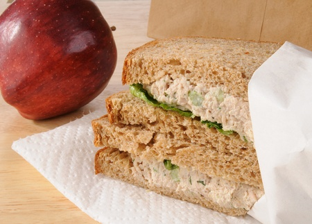 tunafish: A sack lunch for a child with a tunafish sandwich and apple