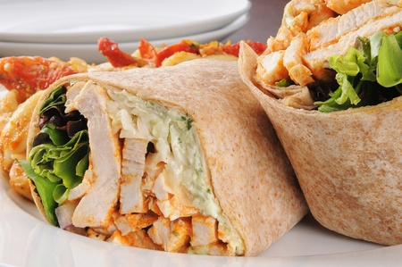 Macro photo of healthy chicken wraps photo