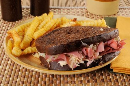 reuben: A corned beef or reuben sandwich on dark rye bread