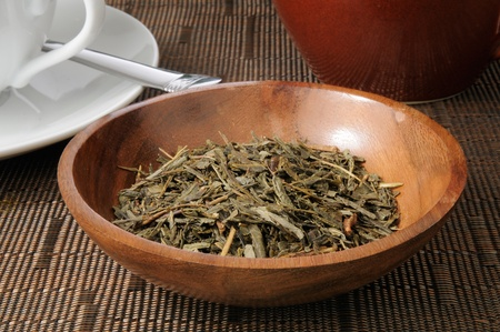 sencha: A bowl of china sencha tea