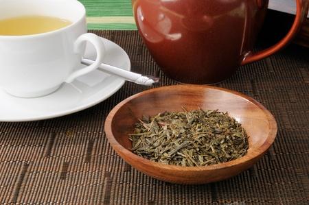 sencha: A pot of fresh whole leaf China Sencha green tea