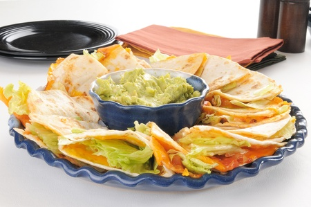 A party plate of quesadillas with guacamole photo