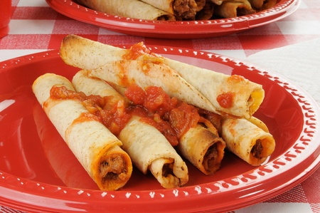 A plastic platewith steak and cheese taquitos topped with salsa Stock Photo - 12268269