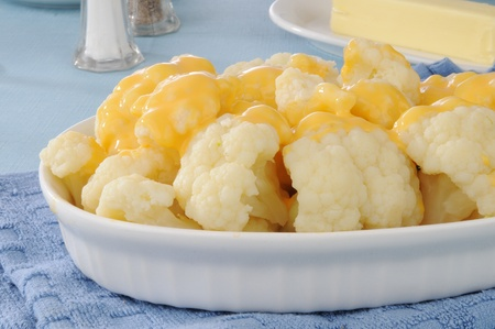A dish of steamed cauliflower and cheese Stock Photo