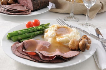 A plate of thin sliced roast beef with mashed potatoes and asparagus Stock Photo - 12268574