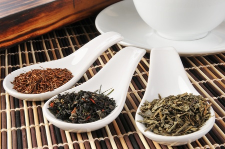 Sample dishes of rooibos, green and black teas photo