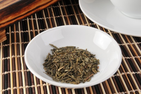 a sample dish of whole leaf green tea Stok Fotoğraf