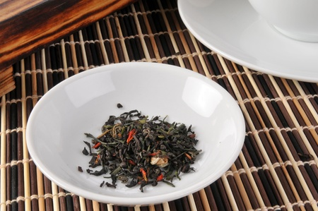 a sample of green and black whole leaf tea