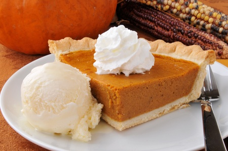 A slice of pumpkin pie with whipped cream and French vanilla ice cream photo