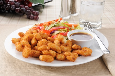 A plate of breaded popcorn shrimp with a salad Stock Photo - 12675756