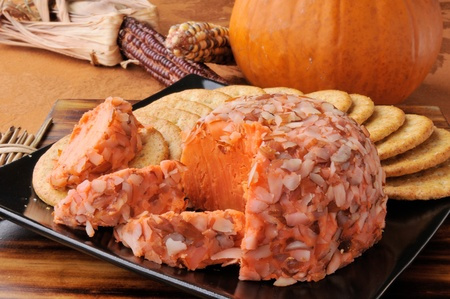 a gourmet cheese ball on a table with a pumpkin and indian corn Stock Photo - 12675910