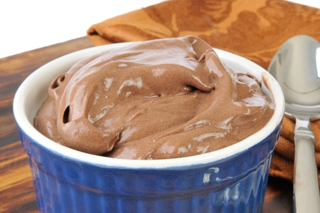 A bowl of chocolate truffle mousse or pudding