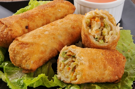 sweet and sour: Close up photo of chicken egg rolls
