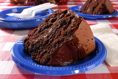 checker plate: A slice of rich chocolate cake on a picnic table