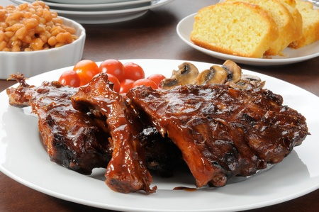 A platter of barbecue baby back ribs Banco de Imagens