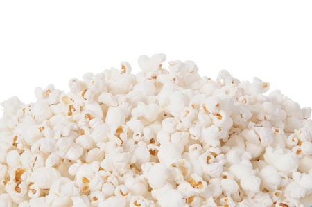 popcorn bowl: A close up shot of a heaping bowl of popcorn against a white background Stock Photo