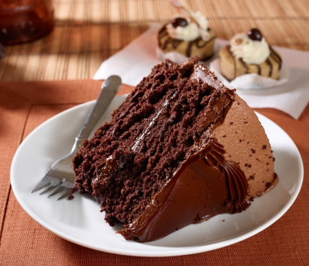 portions: A slice of rich moist devils food chocolate cake - photographed with a 60 mp Phase One camera Stock Photo