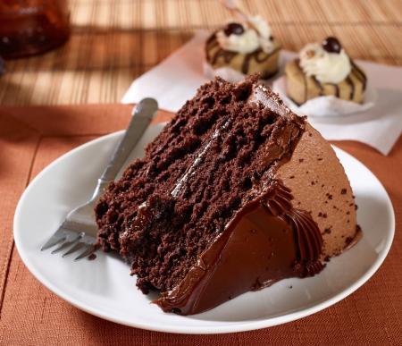 slice cake: Una fetta di torta alimenti ricchi diavolo umida di cioccolato - fotografata con un 60 mp Phase One fotocamera