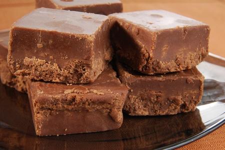 Closeup shot of a plate of fudge