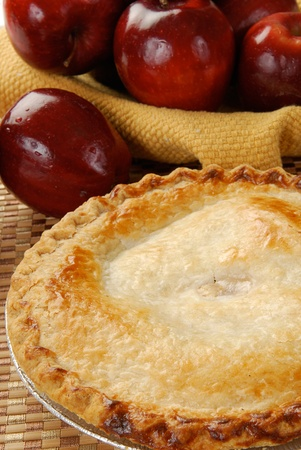 apples basket: A fresh baked applie pie Stock Photo
