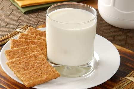 A plate with graham crackers and a glass of milk