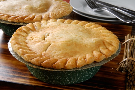 A hot chicken pot pie cooling on the table photo