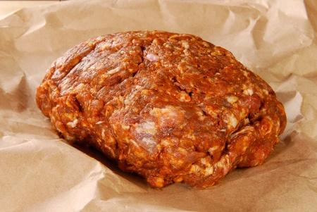 protien: A mound of fresh gorund chorizo sausage on butcher paper