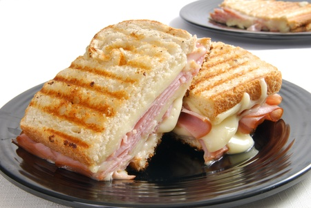toasted: Grilled ham and cheese sandwich