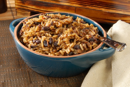 crock: A crock of New Orleans style blackbeans and rice Stock Photo