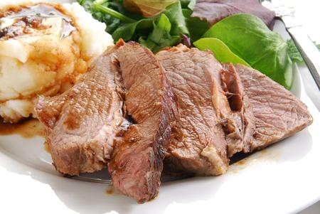 roast beef: A plate of juicy sliced roasd beef