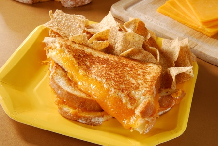 multi grain sandwich: A grilled cheese sandwich on a paper plate and multigrain chips