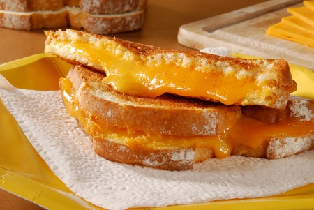 A hot grilled cheese sandwich on a paper plate
