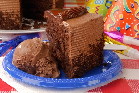 A slice of chocolate birthday cake with ice cream Stock Photo - 12999541