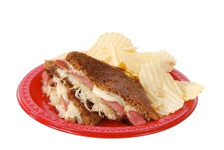 reuben: A polish sausage sandwich with swiss cheese and sauerkraut