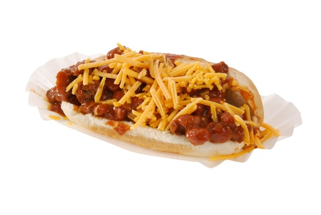 A chili cheese hot dog on a paper tray photo
