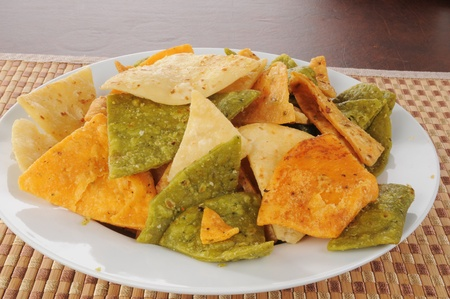 A bowl of vegetable tortilla chips Stock Photo