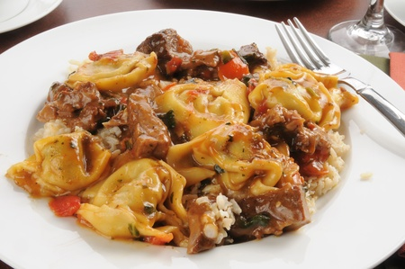 braised mushrooms: Braised beef tips with tortellini stuffed with portabello mushrooms and smoothered in Marsala Wine Sauce
