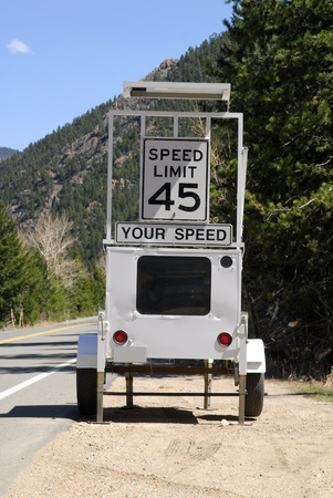 A radar speed control on a two lane mountain road photo