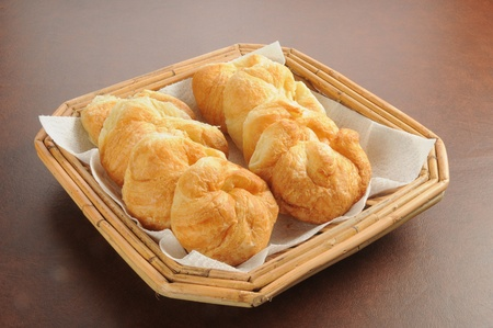 buttery: A basket of buttery mini croissants