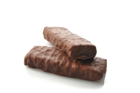 Two chocolate covered nutrition or energy bars