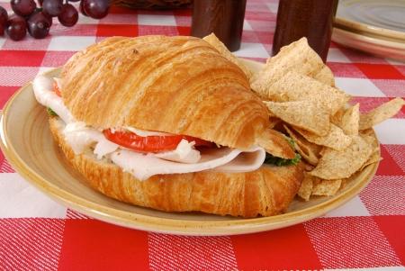 A turkey sandwich on a croissant
